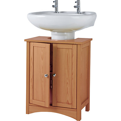 Tongue and groove under sink storage unit pine effect for Homebase bathroom storage units