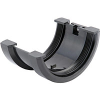 76mm Half Round Joint Bracket - Black
