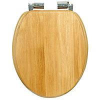 Natural Oak Effect Soft Close Toilet Seat