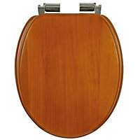 Antique Pine Effect Soft Close Toilet Seat