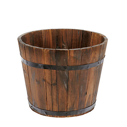 Image for Wooden Barrel Plant Pot - 36Cm from StoreName