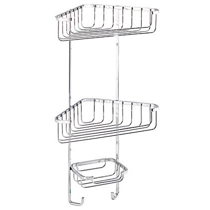 Image for Croydex Bathroom Tidy 3 Tier Corner Basket - Chrome from StoreName
