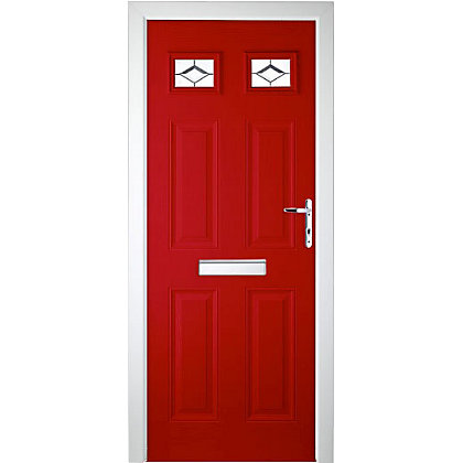 Image for Colonial 2 Top Lite Red Left Hand Hung Composite Door - 920mm Wide from StoreName