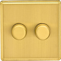 Laura Ashley 400W Push Dimmer Switch - Double - Brushed Brass