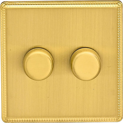 Image for Laura Ashley 400W Push Dimmer Switch - Double - Brushed Brass from StoreName