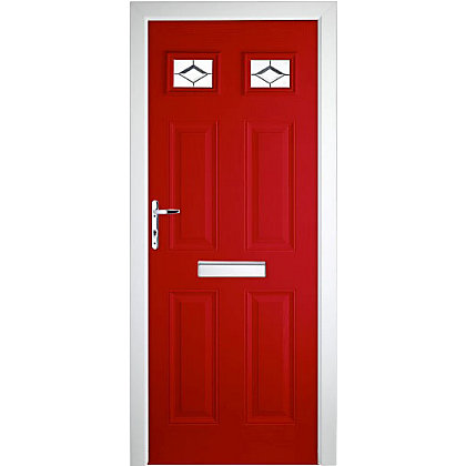 Image for Colonial 2 Top Lite Red Right Hand Hung Composite Door - 920mm Wide from StoreName