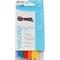 VELCRO Brand ONE-WRAP Reusable Ties 1.2 x 20cm - 5 pack - Multi Colour