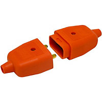 Heavy Duty 2 Pin Flex Connector (Plug And Socket) - Orange