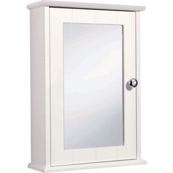 virginia single mirror door bathroom cabinet white