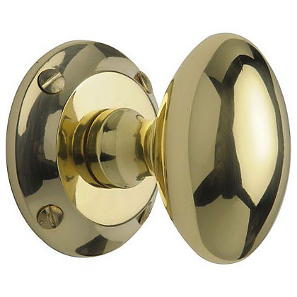 Image for Oval Mortice Door Knob - Polished Brass - 1 Pair from StoreName