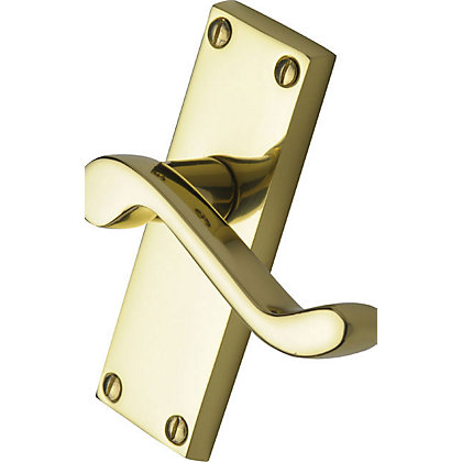 Image for Victorian Scroll Lever Latch Door Handle - Polished Brass from StoreName