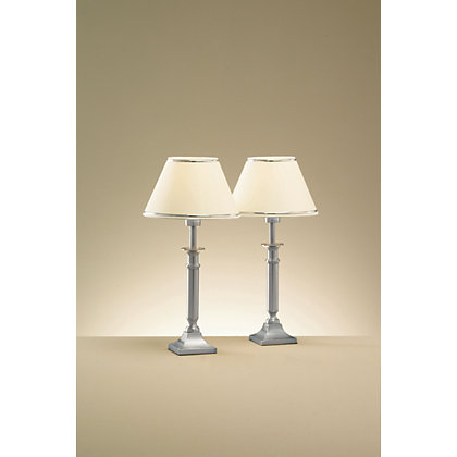 Image for Buchanan Brushed Chrome Table Lamp - Cream - 40cm from StoreName