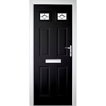 Image for Colonial - Composite Door 2 Top Lite Black Left Hand Hung - 920mm Wide from StoreName