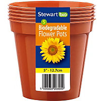 Flower Pots in Orange - 13cm (Pack of 5)