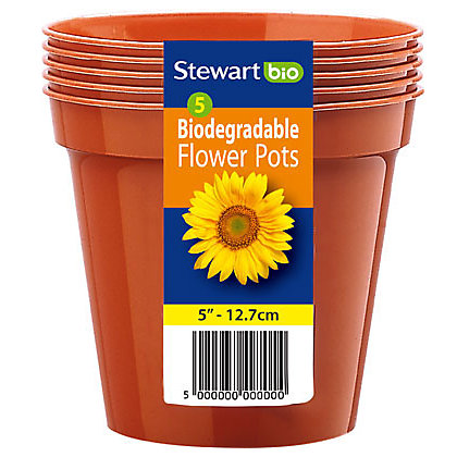 Image for Flower Pots in Orange - 13cm (Pack of 5) from StoreName
