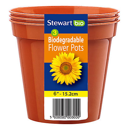 Image for Flower Pots in Orange - 15cm (Pack of 3) from StoreName
