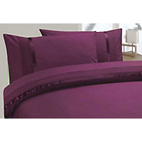 Aimee Ribbon and Pleat Duvet Cover Set - Blackcurrant - Single