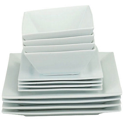 Image for Home of Style Porcelain Square Dinner Set - White - 12 Pieces from StoreName