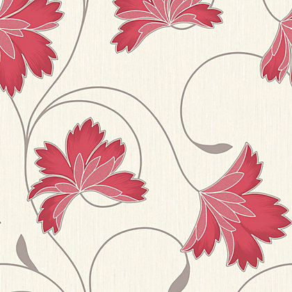 Image for Crown Flourish Vinyl Wall Covering - Cherry Red from StoreName
