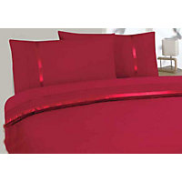 Aimee Ribbon and Pleat Duvet Cover Set - Red - Double