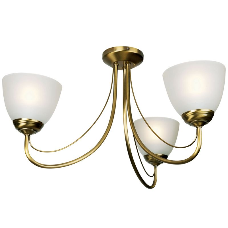Rome Wall Light - Antique Brass Effect/Frosted Glass - 30.5cm