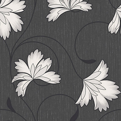 Image for Crown Flourish Vinyl Wall Covering - Jet Black from StoreName
