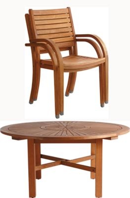 Homebase Almeria 6 Seater Round Wooden Garden Furniture Set