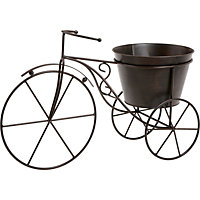 Bicycle Plant Holder Metal Garden Ornament - Brown