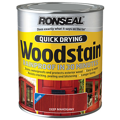 Image for Ronseal Quick Drying Woodstain Satin Deep Mahogany - 750ml from StoreName