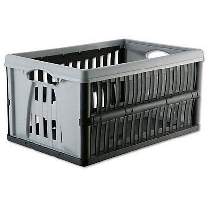 Image for Super Folding Crate - Silver and Black - 60L from StoreName