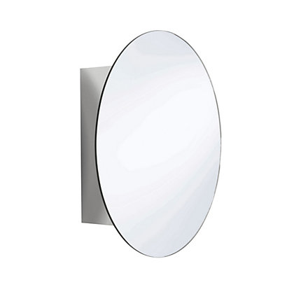 Image for Missouri Round Mirror Door Cabinet - Stainless Steel from StoreName