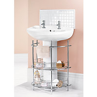Under The Sink 2-Tier Bathroom Storage Unit - Chrome