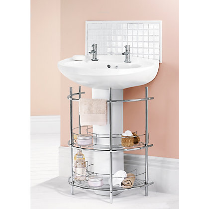 Under the sink 2 tier bathroom storage unit chrome for Bathroom under sink storage