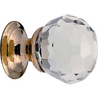 Faceted Glass Door Knob - Polished Brass