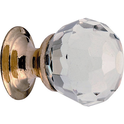 Image for Faceted Glass Door Knob - Polished Brass from StoreName