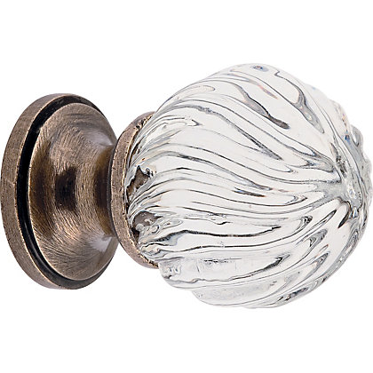 Swirl Glass Door Knob Polished Brass