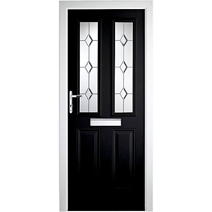 Image for London 2 Narrow Lite Composite Door Set - Black Right Hand Hung Composite Door - 920mm Wide 2085mm High from StoreName