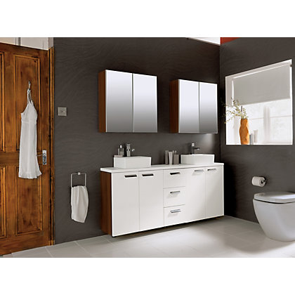 Image for Schreiber Fitted Double Bathroom Wall Unit - Walnut Effect from StoreName