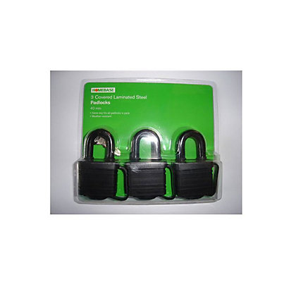 Image for Covered Laminated Padlock - 40mm - 3 Pack from StoreName
