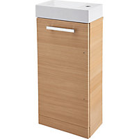 Cannock Cloakroom 400mm Vanity Unit and Basin - Light Oak