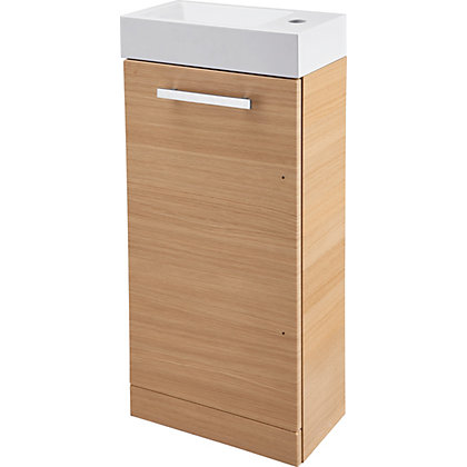 Image for Cannock Cloakroom 400mm Vanity Unit and Basin - Light Oak from StoreName