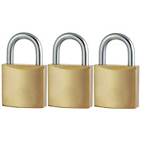Solid Brass Padlock - 20mm - 3 Pack