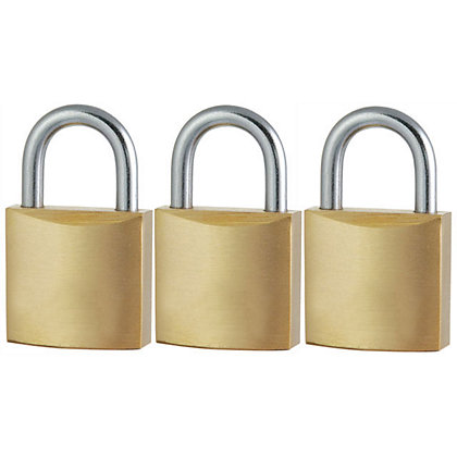 Image for Solid Brass Padlock - 20mm - 3 Pack from StoreName