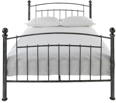 Iceland Wrought Iron Double Bed Frame Antique Pewter | Skalia
