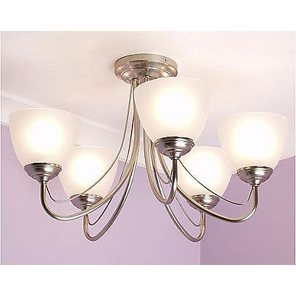 Image for Rome Satin Nickel Ceiling Light from StoreName