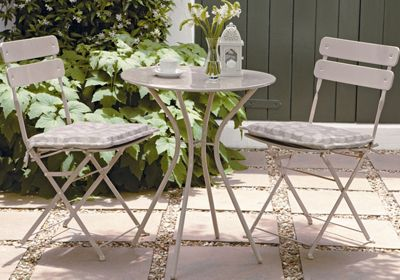 Homebase folding bistro garden furniture set stone for Outdoor furniture homebase