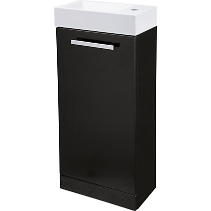 Image for Cannock Cloakroom 400mm Vanity Unit and Basin - Black Gloss from StoreName