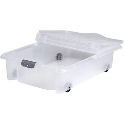 Image for Rolling Underbed Plastic Storage Box with Lid - 35L from StoreName