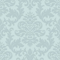 Rasch Glitter Damask Wallpaper Duck Egg