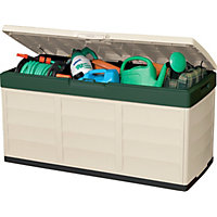Keter Pack and Go Outdoor Garden Storage Box - Beige & Green / 305L
